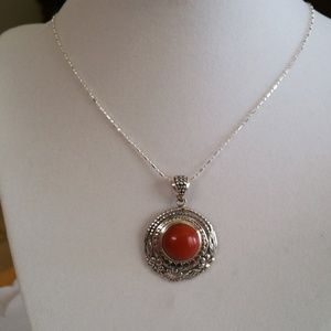 Jewelry - Red Jasper Sterling Silver Pendant with Chain